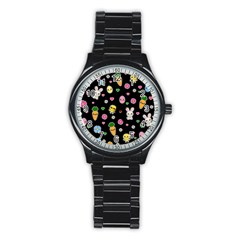 Easter Kawaii Pattern Stainless Steel Round Watch