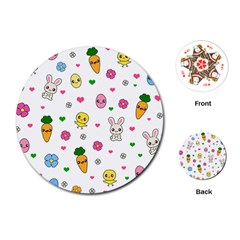Easter Kawaii Pattern Playing Cards (round)
