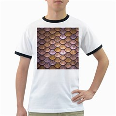 Copper Mermaid Scale Ringer T Shirts