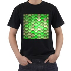Green Mermaid Scale Men s T Shirt (black)