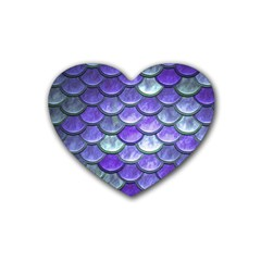 Blue Purple Mermaid Scale Rubber Coaster (heart)