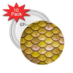 Yellow  Mermaid Scale 2 25  Buttons (10 Pack)
