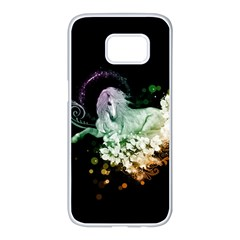 Wonderful Unicorn With Flowers Samsung Galaxy S7 Edge White Seamless Case