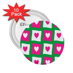 Pink Hearts Valentine Love Checks 2 25  Buttons (10 Pack)