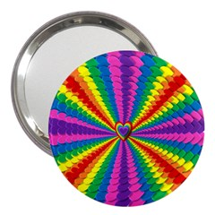 Rainbow Hearts 3d Depth Radiating 3  Handbag Mirrors