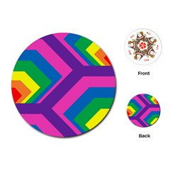 Geometric Rainbow Spectrum Colors Playing Cards (round)
