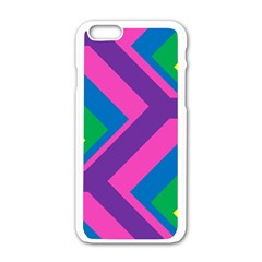 Geometric Rainbow Spectrum Colors Apple Iphone 6/6s White Enamel Case