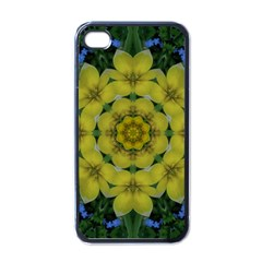 Fantasy Plumeria Decorative Real And Mandala Apple Iphone 4 Case (black)