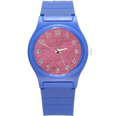 Pink  Denim Round Plastic Sport Watch (s)