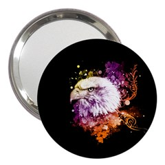 Awesome Eagle With Flowers 3  Handbag Mirrors