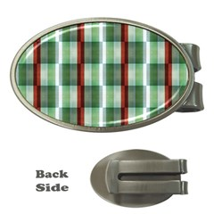 Fabric Textile Texture Green White Money Clips (oval)