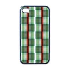Fabric Textile Texture Green White Apple Iphone 4 Case (black)