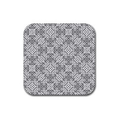 Black And White Oriental Ornate Rubber Square Coaster (4 Pack)