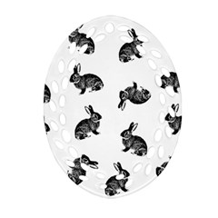 Rabbit Pattern Oval Filigree Ornament (two Sides)