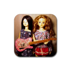 Playing The Guitar Rubber Square Coaster (4 Pack)