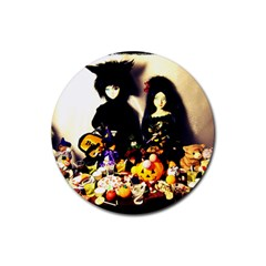 Old Halloween Photo Rubber Coaster (round)