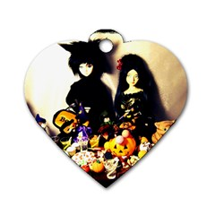 Old Halloween Photo Dog Tag Heart (two Sides)