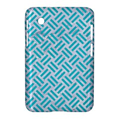 Woven2 White Marble & Turquoise Colored Pencil (r) Samsung Galaxy Tab 2 (7 ) P3100 Hardshell Case