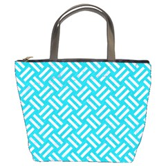 Woven2 White Marble & Turquoise Colored Pencil Bucket Bags