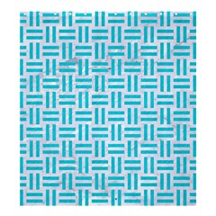 Woven1 White Marble & Turquoise Colored Pencil (r) Shower Curtain 66  X 72  (large)