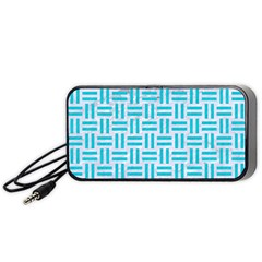 Woven1 White Marble & Turquoise Colored Pencil (r) Portable Speaker