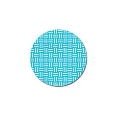 Woven1 White Marble & Turquoise Colored Pencil Golf Ball Marker