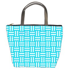Woven1 White Marble & Turquoise Colored Pencil Bucket Bags