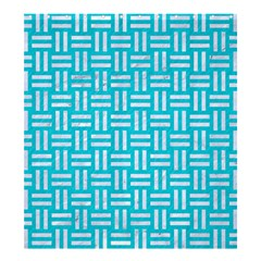Woven1 White Marble & Turquoise Colored Pencil Shower Curtain 66  X 72  (large)