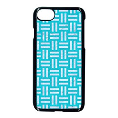 Woven1 White Marble & Turquoise Colored Pencil Apple Iphone 8 Seamless Case (black)