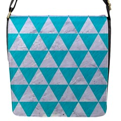 Triangle3 White Marble & Turquoise Colored Pencil Flap Messenger Bag (s)