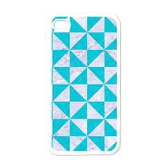 Triangle1 White Marble & Turquoise Colored Pencil Apple Iphone 4 Case (white)