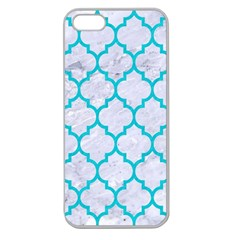 Tile1 White Marble & Turquoise Colored Pencil (r) Apple Seamless Iphone 5 Case (clear)