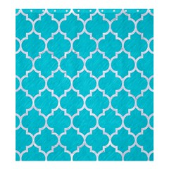 Tile1 White Marble & Turquoise Colored Pencil Shower Curtain 66  X 72  (large)
