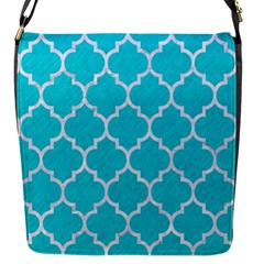 Tile1 White Marble & Turquoise Colored Pencil Flap Messenger Bag (s)