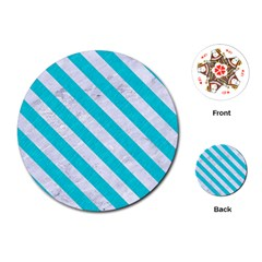 Stripes3 White Marble & Turquoise Colored Pencil Playing Cards (round)