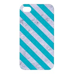 Stripes3 White Marble & Turquoise Colored Pencil Apple Iphone 4/4s Premium Hardshell Case