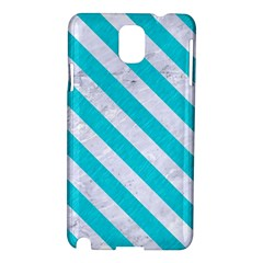 Stripes3 White Marble & Turquoise Colored Pencil Samsung Galaxy Note 3 N9005 Hardshell Case