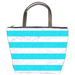 Stripes2white Marble & Turquoise Colored Pencil Bucket Bags