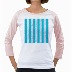 Stripes1 White Marble & Turquoise Colored Pencil Girly Raglans