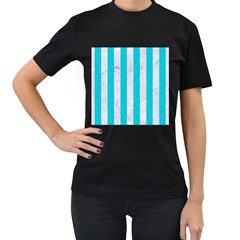 Stripes1 White Marble & Turquoise Colored Pencil Women s T Shirt (black) (two Sided)