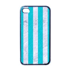 Stripes1 White Marble & Turquoise Colored Pencil Apple Iphone 4 Case (black)