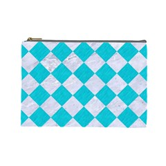 Square2 White Marble & Turquoise Colored Pencil Cosmetic Bag (large)