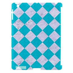 Square2 White Marble & Turquoise Colored Pencil Apple Ipad 3/4 Hardshell Case (compatible With Smart Cover)
