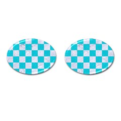 Square1 White Marble & Turquoise Colored Pencil Cufflinks (oval)