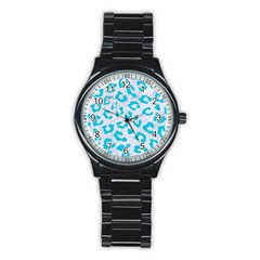 Skin5 White Marble & Turquoise Colored Pencil Stainless Steel Round Watch