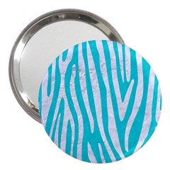 Skin4 White Marble & Turquoise Colored Pencil (r) 3  Handbag Mirrors
