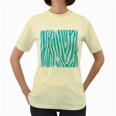Skin4 White Marble & Turquoise Colored Pencil Women s Yellow T Shirt