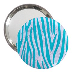 Skin4 White Marble & Turquoise Colored Pencil 3  Handbag Mirrors