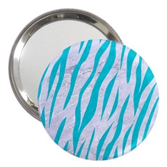 Skin3 White Marble & Turquoise Colored Pencil (r) 3  Handbag Mirrors