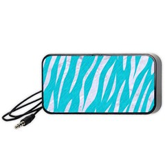 Skin3 White Marble & Turquoise Colored Pencil Portable Speaker